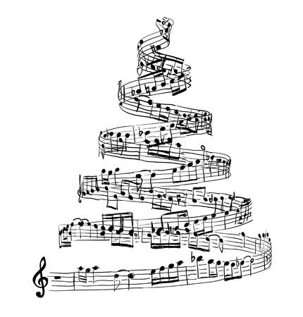 Albero di Natale da note musicali. illustrazione di vettore