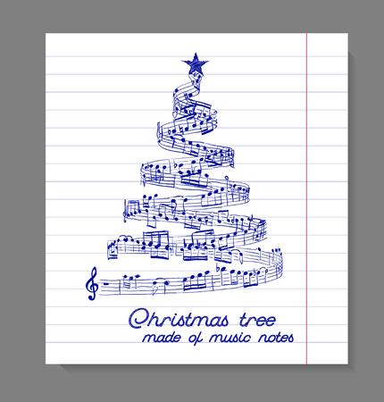 armonia: Árbol de navidad de las notas musicales. ilustración vectorial