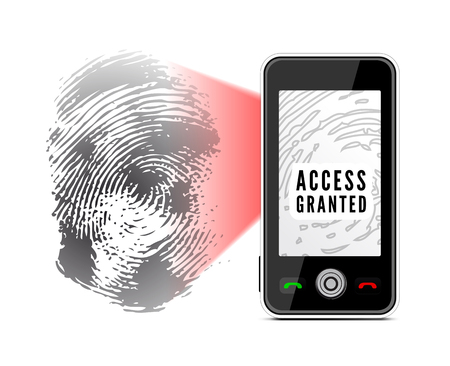 fingermark: Smartphone scanning a fingerprint. Vector illustration on white background