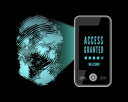 Smartphone scanning a fingerprint. Vector illustration on black background