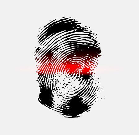 scanner: Ray scanner scan fingerprint. Vector illustration close-up