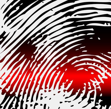 fingermark: Ray scanner scan fingerprint. Vector illustration close-up