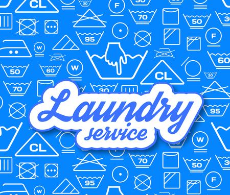 tumble drying: Laundry service vector illustration on blue background