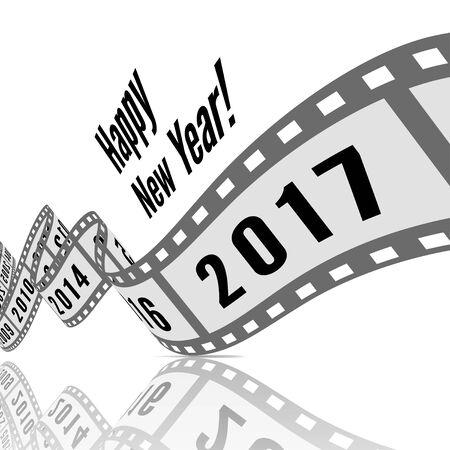 Happy new year 2017. Film strip vector illustration