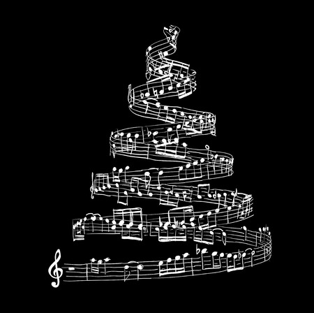 Christmas tree from music notes. Vector illustration Ilustração