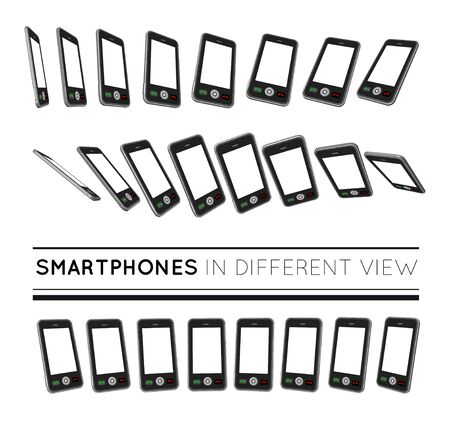 mobile cellular: Smartphones in different view. Vector set on white background