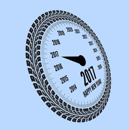 Speedometer 2017 year greeting. Styling by tire tracks. Vector illustration Illustration