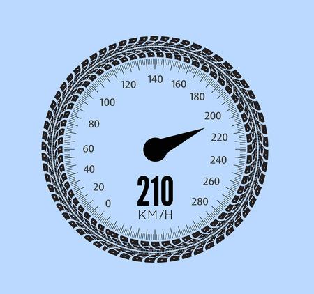 tread: Speedometer vector illustration. Styling by tire tracks. Vector illustration