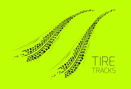 skid: Tire tracks background. Vector illustration on green Illustration
