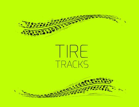 skid: Tire tracks background. Vector illustration on green Illustration