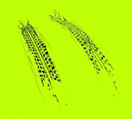 Tire tracks background. Vector illustration on green Illustration