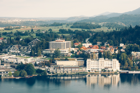 karavanke: View from the castle to Lake Bled and the surrounding neighborhood. Slovenia Stock Photo