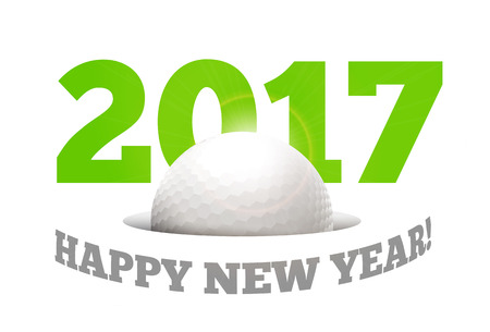 outdoor event: Happy New Year on the background of a golf ball