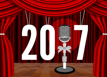 musical theater: Happy New Year on the background of the stage with a microphone