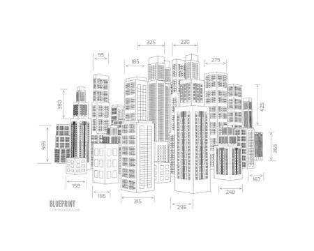 dessin au trait: Bâtiment wireframe. 3d render ville.