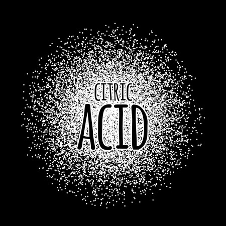 conservative: Citric acid as a white powder on a black background. Vector illustration