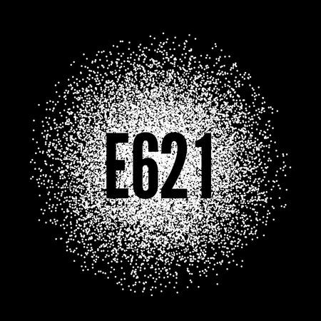 glutamate: E621 Monosodium Glutamate white powder. Vector illustration on black background Illustration