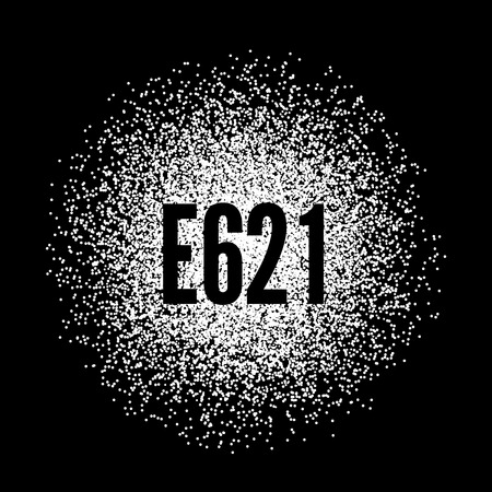 E621 Monosodium Glutamate white powder. Vector illustration on black background Illustration