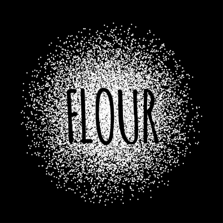 Flour in the form of white powder on a black background. Vector illustration