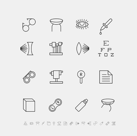 concave: Vector set of medical icons for ophthalmology.
