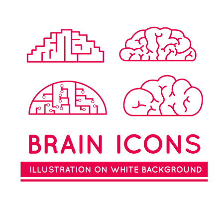 medical technology: Icons of brains in different styles. Vector illustration on white background Illustration