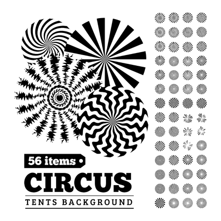 Circus tents backgrounds or circular illustrations for your design. Vector set.