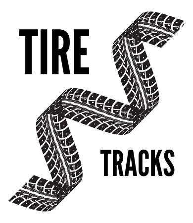 tread: Tire tracks. Vector illustration on white background Stock Photo