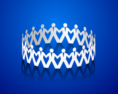 Paper men holding hands in the shape of a circle Illustration