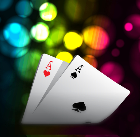 A combination of playing cards for casino. Two aces on bokeh background. Vector illustration Stock Photo