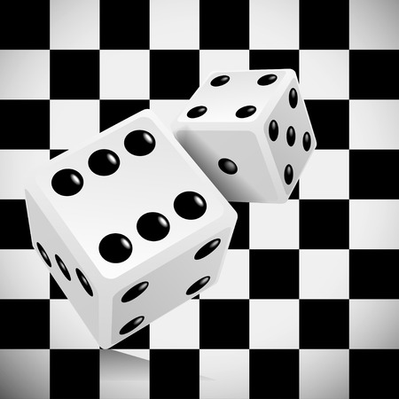 six objects: Playing dice for a casino on a transparent checkered background