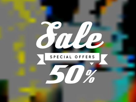 blurry: Sale, special offer, vector illustration on blurry background