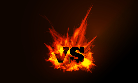 VS comparison of a vector background with a fiery flame on a black background. Illustration