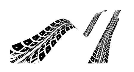 Bandensporen. Vectorillustratie op witte achtergrond Stock Illustratie