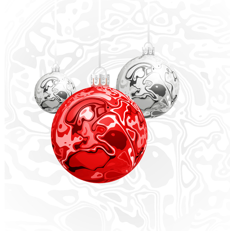 Christmas vector balls in the style of marble ink