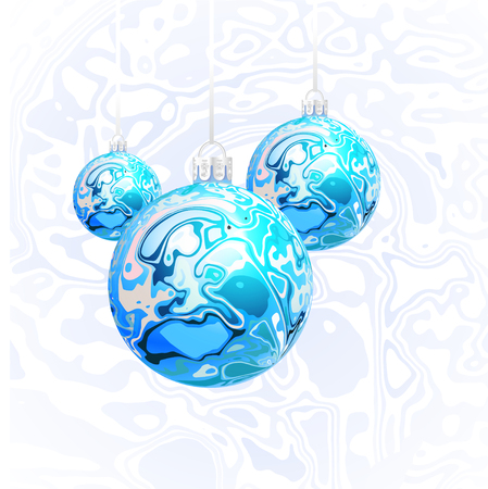 Christmas vector balls in the style of Marble Ink Çizim