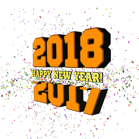 Congratulations on the New Year 2018, which goes after 2017. New Years numbers with particles flying away from the explosion. Vector illustration