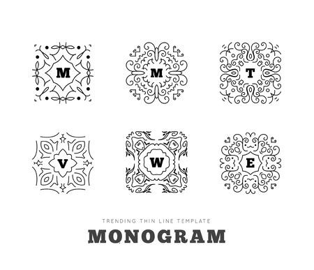 Serie monogramma con lettere su sfondo bianco. Illustrazione vettoriale