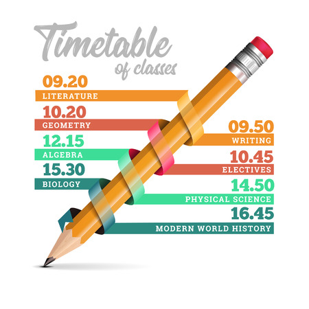 Timetable or timeline vector design template illustration with pencil.