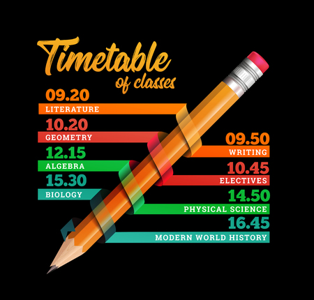 Timetable or timeline vector design template illustration with pencil on black background.