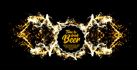 Beer party. Splash of beer with bubbles. Vector illustration Vettoriali