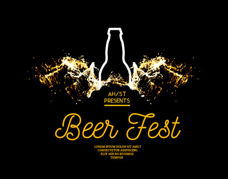 Beer fest. Splash of beer with bubbles on a black background. Vector illustration with a silhouette of a bottle and a splash in the form of wings 矢量图像
