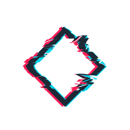 Glitch distortion frame. Vector rhombus illustration 矢量图像