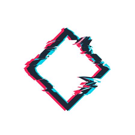 Glitch distortion frame. Vector rhombus illustration Illustration
