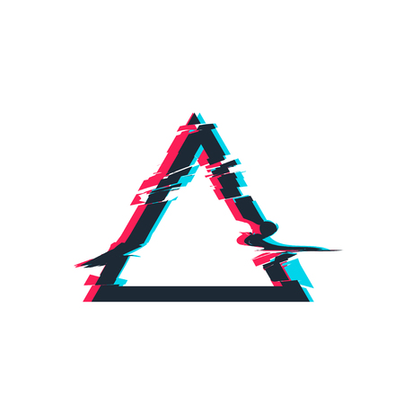 Glitch distortion frame Vector triangle illustration Illustration
