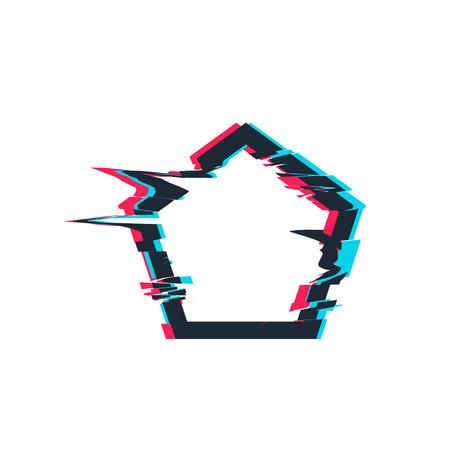 Glitch distortion frame. Vector pentacon illustration Illustration