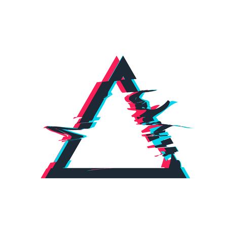 Glitch distortion frame. Vector triangle illustration