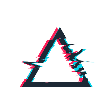 Glitch distortion frame. Vector triangle illustration