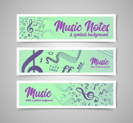 Musical staves vector illustration with music notes and symbols