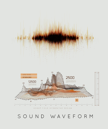 Graphic musical equalizer, sound waves, on a light gray background
