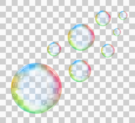 Rainbow soap bubble on a transparent background. Realistic vector illustration